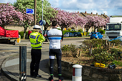 Pictured: PC Denise Humphrey (road Policing) and PC Peter Sparrow check the speed of road users on Telford Road<br /> <br /> A new policing initiative to promote cycle safety was launched in Edinburgh today. The operation saw drivers pulled over for passing too close to an unmarked police cyclist or any other vehicle.<br /> Ger Harley | EEm 24 April 2017