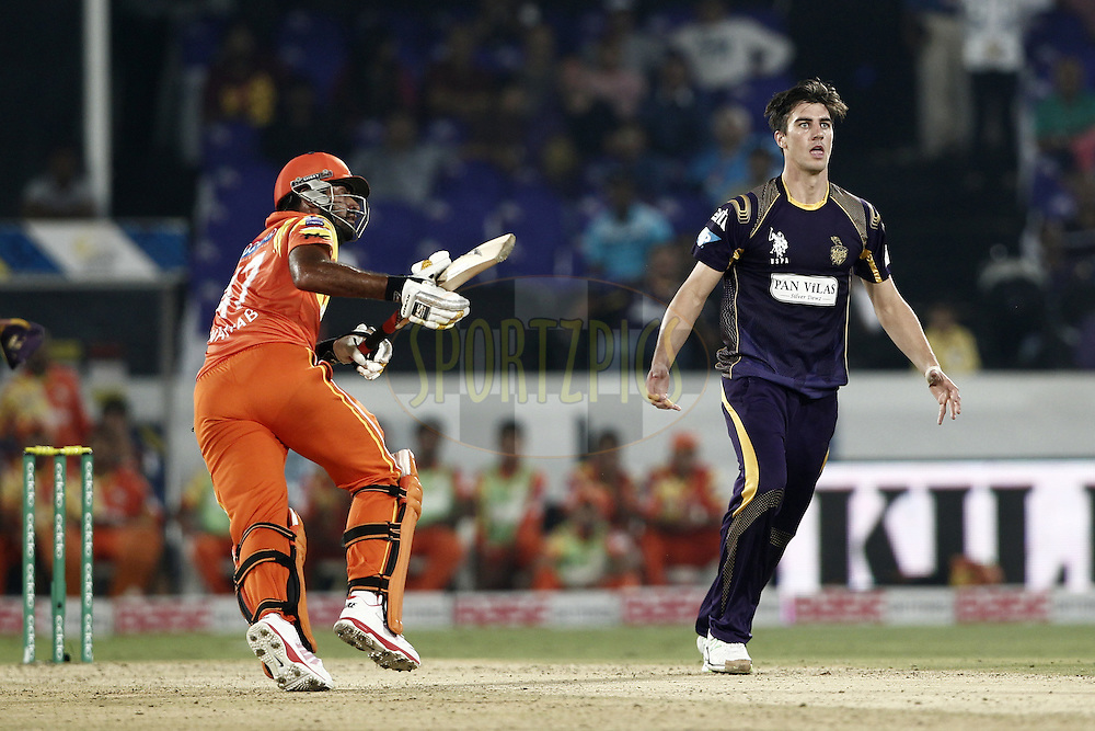 Patrick Cummins of the Kolkata Knight Riders react during match 7 of the Oppo Champions League Twenty20 between the Kolkata Knight Riders and the Lahore Lions held at the Rajiv Gandhi Cricket Stadium, Hyderabad, India on the 21st September 2014<br /> <br /> Photo by:  Deepak Malik / Sportzpics/ CLT20<br /> <br /> <br /> Image use is subject to the terms and conditions as laid out by the BCCI/ CLT20.  The terms and conditions can be downloaded here:<br /> <br /> http://sportzpics.photoshelter.com/gallery/CLT20-Image-Terms-and-Conditions-2014/G0000IfNJn535VPU/C0000QhhKadWcjYs
