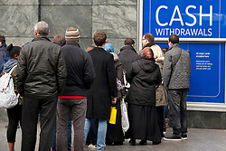 © Licensed to London News Pictures. 16/12/2012. Birmingham, UK. Abusy weekend in Birmingham as the city id filled with Xmas shoppers. Pictured, a busy cash point machine near the Bullring. Photo credit : Dave Warren/LNP