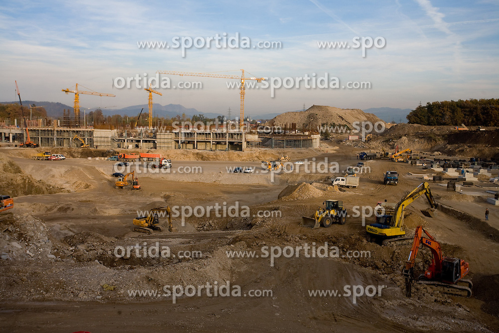 Building of new football stadium and basketball arena in Ljubljana - Stozice, on October 28, 2009, in Ljubljana, Slovenia.  (Photo by Vid Ponikvar / Sportida)
