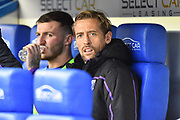 Peter Crouch (25) of Stoke City on the bench before the EFL Sky Bet Championship match between Reading and Stoke City at the Madejski Stadium, Reading, England on 1 December 2018.