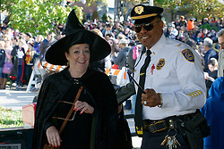 At Hogsmeade Station (formally know as Chestnut Hill West), Kathleen Eiser, in her rol as Prof. Minerva McGonagall and Lt. Walls of Septa Dist. 7 Police Dept wait for the delayed Hogwarts Express to arrive. (Bastiaan Slabbers/for PhillyVoice)