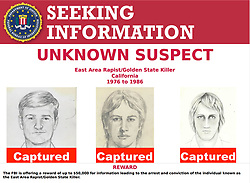 Apr 25, 2018 - Sacramento, California, U.S. - A suspect has been arrested in the case of the a serial killer who investigators believe raped 45 women and murdered 12 people in the Sacramento region 1970s and 1980s, known as the East Area Rapist or Golden State Killer. Sacramento County booked 73 year old Joseph James DeAngelo early Wednesday morning on two counts of murder, according to jail records. DeAngelo was wanted on a Ventura County arrest warrant and is being held without bail. The FBI Poster offering a reward of up to $50,000 for information leading to the arrest and conviction of the individual known as the East Area Rapist/Golden State Killer. (Credit Image: © Courtesy FBI via ZUMA Wire)
