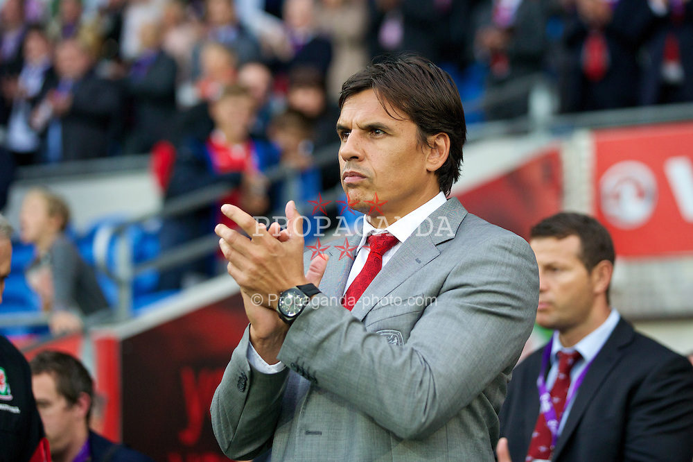 CARDIFF, WALES - Wednesday, August 14, 2013: Wales' manager Chris Coleman before an International Friendly against Republic of Ireland at the Cardiff City Stadium. (Pic by David Rawcliffe/Propaganda)