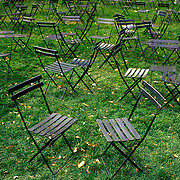 Green chairs on green grass, Bryant Park, behind the New York Public Library, Manhattan, New York, New York