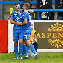 Eastleighs defender Mike Green congratulates Eastleighs forward Ben Williamson after he scored the first goal during the National League match between Dover Athletic FC and Eastleigh FC at Crabble Stadium, Kent on 25 August 2018. Photo by Matt Bristow.