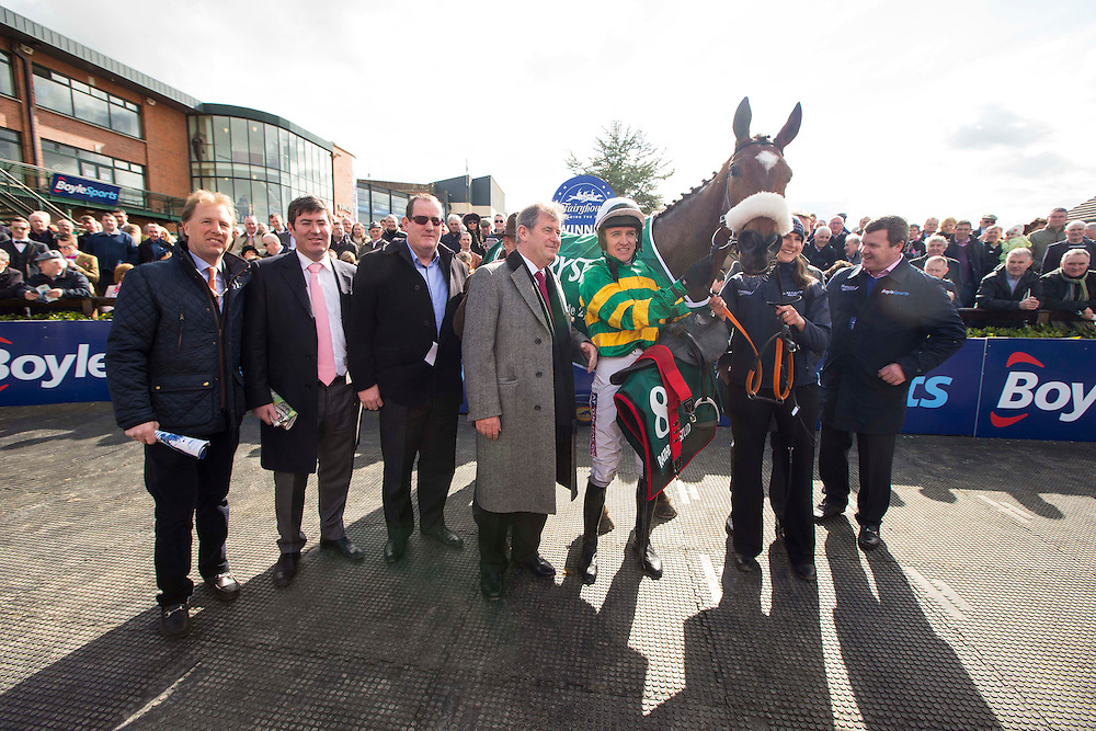 Horse Racing - Fairyhouse Easter Festival, Monday 28th March 2016<br /> Members of Rathbarry Stud with Sutton Place after winning the Rathbarry & Glenview Studs Novice Hurdle<br /> Photo: David Mullen /www.cyberimages.net / 2016