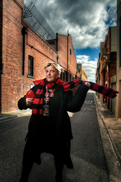 Essendon Football Fan Jane Clifton. Pic By Craig Sillitoe CSZ/The Sunday Age.30/8/2011  Pic By Craig Sillitoe CSZ / The Sunday Age melbourne photographers, commercial photographers, industrial photographers, corporate photographer, architectural photographers, This photograph can be used for non commercial uses with attribution. Credit: Craig Sillitoe Photography / http://www.csillitoe.com<br />