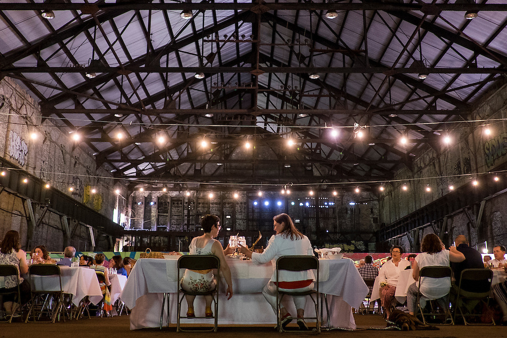 Miranda Crotsley and Hollen Barmer hold their wedding at the Carrie Furnaces site in Rankin PA. <br />