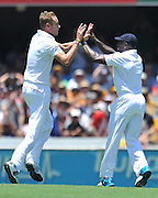"Broad celebrates the wicket of Shane Watson caught behind just before lunch on Day 1 of the 1st Test in the 2013-14 Ashes Cricket Series between Australia and England at the GABBA (Brisbane, Australia) from Thursday 21st November 2013<br /> <br /> Conditions of Use : NO AGENTS ~ This image is subject to copyright and use conditions stipulated by Cricket Australia.  This image is intended for Editorial use only (news or commentary, print or electronic) - Required Image Credit : ""Steven Hight - AURA Images"""