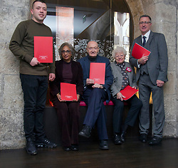 Pictured: Jordan Docherty, Kiliani Lyle, Richard WHolloway, Ruth Wishart and Paul Carberry, Director of Action for Children<br /> <br /> Today, a Youth justice report, The Kilbrandon Again report ,was published. The Report was commissioned by Action for Children and the Children and Young People's Commissioner for Scotland Bruce Adamson.  the panel was led by writer, broadcaster and champions for justice and truth, Richard Holloway, Kiliani Lyle, depute chair of Poverty and Inequality Commission and Jounalist Ruth Wishart.<br /> Ger Harley | EEm 28 November 2018
