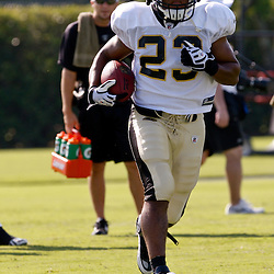 July 31, 2010; Metairie, LA, USA; New Orleans Saints running back Pierre Thomas (23) runs during a training camp practice at the New Orleans Saints practice facility. Mandatory Credit: Derick E. Hingle