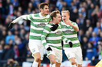 01/02/15 SCOTTISH LEAGUE CUP SEMI-FINAL<br /> CELTIC v RANGERS<br /> HAMPDEN - GLASGOW<br /> Celtic's Kris Commons (centre) celebrates his goal with team-mates Nir Bitton (left) and Leigh Griffiths