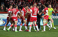 Kevin Larroyer (centre) of Hull Kingston Rovers celebrates scoring his try with his team mates during the First Utility Super League match at Craven Park, Hull<br /> Picture by Richard Gould/Focus Images Ltd +44 7855 403186<br /> 17/04/2014