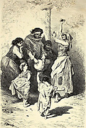 Danse de Petites Gitanas, au Sacro-Monte [Young Gypsies dancing in Sacro-Monte] Page illustration from the book 'L'Espagne' [Spain] by Davillier, Jean Charles, barón, 1823-1883; Doré, Gustave, 1832-1883; Published in Paris, France by Libreria Hachette, in 1874
