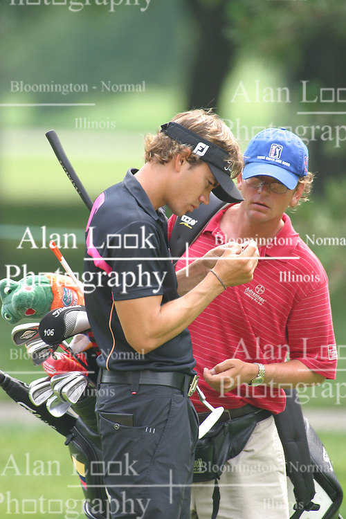 28 June 2005<br /> <br /> Camilo Villegas & caddy.<br /> <br /> Tuesday practice session at the 2005 Cialis Western Open. Dubsdread, Cog Hill Golf Course, Lemont, IL