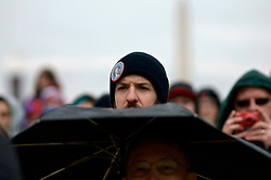 From the non-ticketed area supporters in the general public react as they witness the events unfold from the large screens the National Mall, in Washington, D.C., during the January 20, 2017, Inauguration of Donald Trump as the 45th President of the United States.