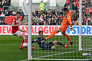 Goal - Patrick Bamford (9) of Leeds United scores a goal to give a 0-1 lead to the away team  during the EFL Sky Bet Championship match between Bristol City and Leeds United at Ashton Gate, Bristol, England on 9 March 2019.