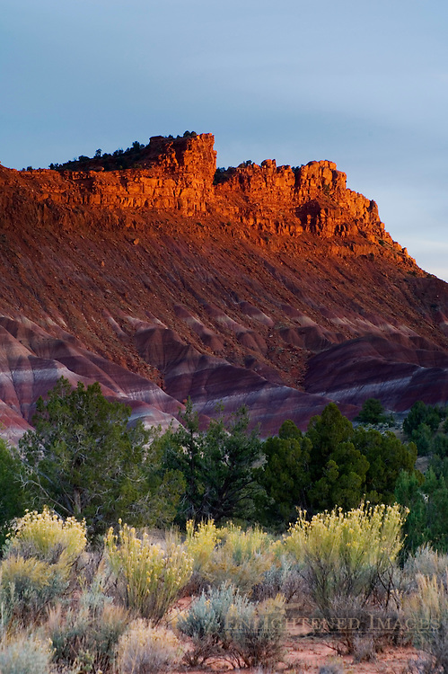 Sunset light on eroded hills and buttes along the Cockscomb, Grand Staircase Escalante National Monument, Utah