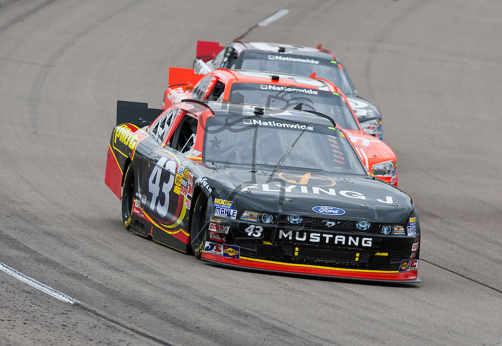 NEWTON, IA - MAY 20, 2012:  Michael Annett (43) goes through the turns during the Pioneer Hi-Bred 250 at the Iowa Speedway in Newton, IA.