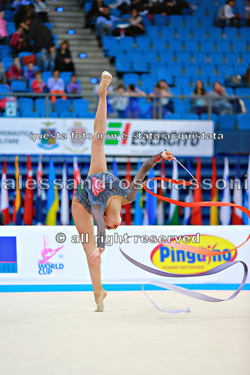 Mamun Margarita during qualifying at ribbon in Pesaro World Cup at Adriatic Arena on 11 April 2015. Margarita was born November 1,1995 in Moscow.