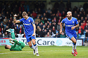 Gillingham FC midfielder Lee Martin (11) pumps the air in celebration as Gillingham FC forward Josh Parker (14) scores a goal (1-0) during the The FA Cup match between Gillingham and Leyton Orient at the MEMS Priestfield Stadium, Gillingham, England on 4 November 2017. Photo by Martin Cole.