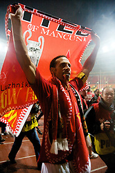 MOSCOW, RUSSIA - Wednesday, May 21, 2008: Manchester United's Carlos Tevez celebrates after beating Chelsea on sudden death penalties to win the UEFA Champions League Final at the Luzhniki Stadium. (Photo by David Rawcliffe/Propaganda)