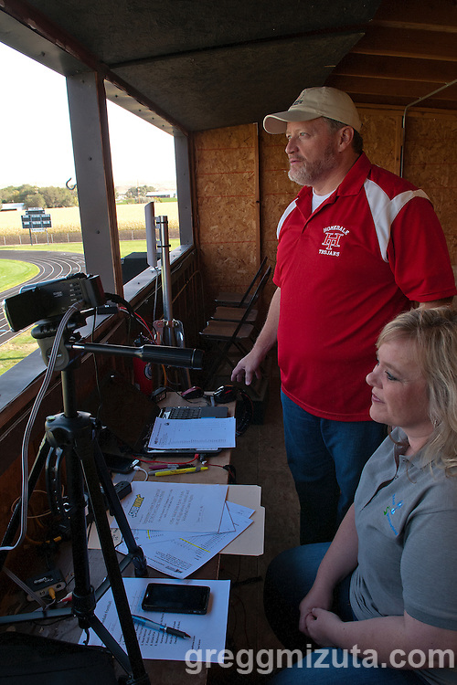 Backroads Broadcasting's Dale Jeffries and Dana Carpenter in the press box at Frank Hawley Stadium for the Vale - Homedale football game on September 12, 2014. Backroads provided live coverage of the game on SRVRadio.com and game day webcast on IdahoSports.com.