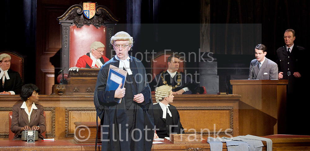 Witness for the Prosecution by Agatha Christie <br /> at London County Hall, Southbank, London, Great Britain <br /> press photocall <br /> 20th October 2017 <br /> <br /> directed by Lucy Bailey <br /> <br /> Leonard Vole as Jack Mullen <br /> <br /> Philip Franks as Mr Myers QC <br /> <br /> <br /> <br /> <br /> <br /> Photograph by Elliott Franks <br /> Image licensed to Elliott Franks Photography Services