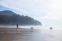 Woman and dogs at Oswald West State Park, OR.