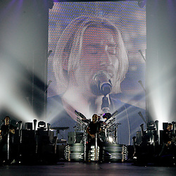 17 April, 2009: Nickelback performs on stage during the concert tour stop in support of their new album 'Dark Horse' at the New Orleans Arena in New Orleans, Louisiana.