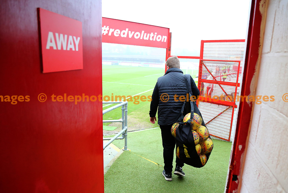 Dave the kit man arrives before the Sky Bet League 2 match between Accrington Stanley and Crawley Town at the Fraser Eagle Stadium in Accrington. 23 Dec 2017