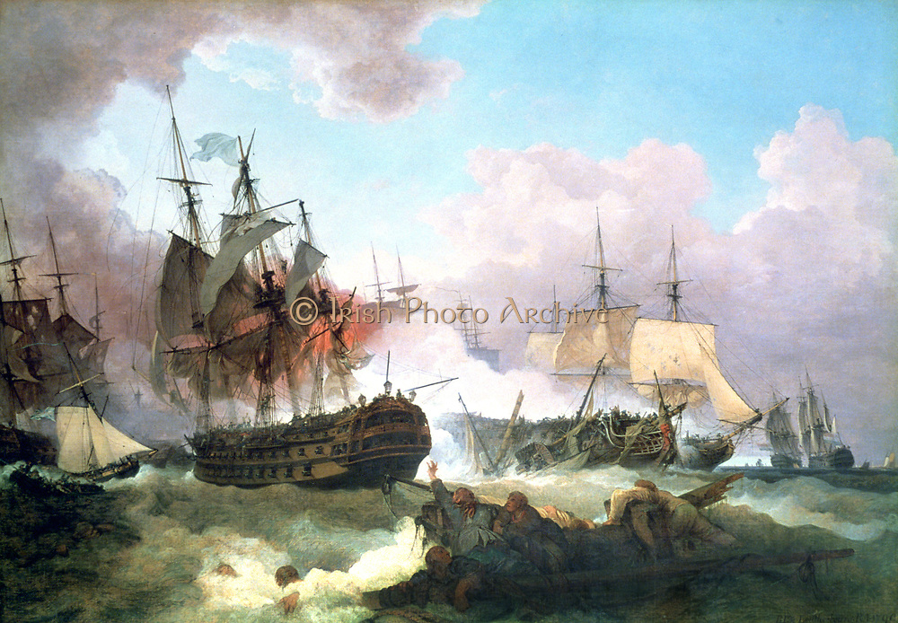 The Battle of Camperdown',  11 October 1797 (1799). The British fleet under Admiral Adam Duncan, defeated the Dutch under Admiral de Winter, who were then aligned with the French, in the North Sea at Camperdown (Kamperduin)  on the coast of Holland near Alkmaar.  In right foreground female survivors are seen clingig to wreckage.  Artist: Philip de Louthebourg (1740-1812). Oil on Canvas.