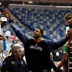 Apr 07, 2010; New Orleans, LA, USA; Charlotte Bobcats center Tyson Chandler greets fans following a win over the New Orleans Hornets at the New Orleans Arena. The Bobcats defeated the Hornets 104-103. Mandatory Credit: Derick E. Hingle-US PRESSWIRE