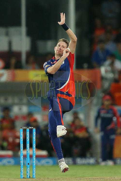 Christopher Morris of Delhi Daredevils sends down a delivery during match 42 of the Vivo IPL 2016 (Indian Premier League) between the Sunrisers Hyderabad and the Delhi Daredevils held at the Rajiv Gandhi Intl. Cricket Stadium, Hyderabad on the 12th May 2016<br /> <br /> Photo by Shaun Roy / IPL/ SPORTZPICS