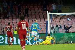 NAPLES, ITALY - Wednesday, October 3, 2018: Napoli's Lorenzo Insigne (hidden) scores the winning goal in injury time during the UEFA Champions League Group C match between S.S.C. Napoli and Liverpool FC at Stadio San Paolo. Napoli won 1-0. (Pic by David Rawcliffe/Propaganda)