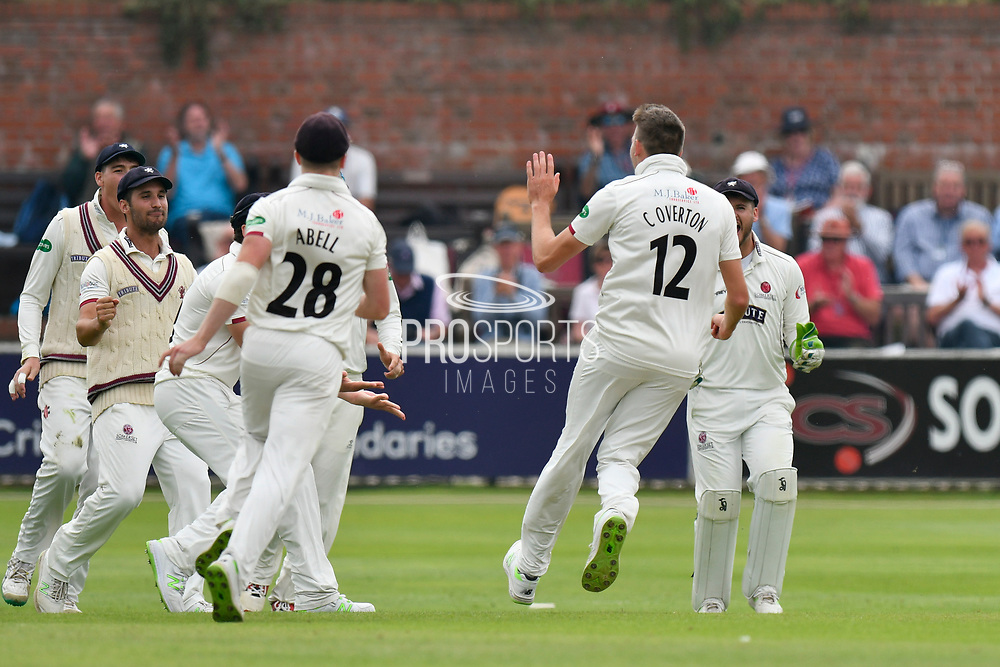 Wicket - Craig Overton of Somerset celebrates taking the wicket of Steven Mullaney of Nottinghamshire during the Specsavers County Champ Div 1 match between Somerset County Cricket Club and Nottinghamshire County Cricket Club at the Cooper Associates County Ground, Taunton, United Kingdom on 10 June 2018. Picture by Graham Hunt.
