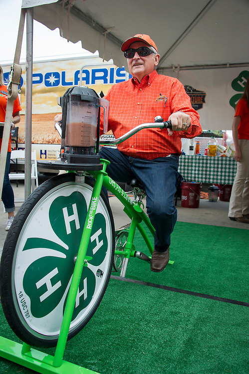 Celebrate Ag Day featured booth space directly in front of the Boone Pickens Stadium prior to a home game against Kansas State. Livingston Equipment sponsored the event which featured booths from the College of Agriculture, and two displays from the Cooperative Extension and  4-H featuring the ATV Safety training and Blender Bikes.