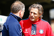Gareth Ainsworth , Manager of Wycombe Wanderers (right) and Chris Wilder , Manager of Northampton Town (left) before the Sky Bet League 2 match at Adams Park, High Wycombe<br /> Picture by David Horn/Focus Images Ltd +44 7545 970036<br /> 18/04/2014