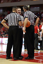 03 February 2018:  Referees Brad Gaston, Toby Martinez and Roger Schmitz during a College mens basketball game between the Evansville Purple Aces and Illinois State Redbirds in Redbird Arena, Normal IL