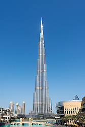 Daytime view of Burj Khalifa skyscraper ,world's tallest building in Dubai United Arab Emirates