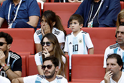 Antonella Roccuzzo, wife of Argentina's Lionel Messi, in the stands with their sons attend the Football World Cup, France vs Argentina at the Kazan Arena. 30 Jun 2018 Pictured: Antonella Roccuzzo, Mateo Messi, Ciro Messi. Photo credit: MEGA TheMegaAgency.com +1 888 505 6342