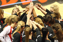 22 September 2012:  Bradly Braves during an NCAA womens volleyball match between the Bradley Braves and the Illinois State Redbirds at Redbird Arena in Normal IL