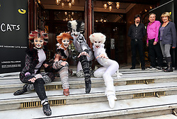 Image licensed to i-Images Picture Agency. 07/07/2014. London, United Kingdom. Cast members from the musical Cats watched by the original creative team of Composer Andrew LLoyd Webber, Director Trevor Nunn and Choreographer Gillian Lynne outside the London Palladium to launch the return of the musical for a 12 week limited run from 6th December 2014 Picture by Stephen Lock / i-Images