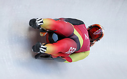 Germany's Tobias Wendl and Tobias Arlt during the Men's Double Luge practice during day three of the PyeongChang 2018 Winter Olympic Games in South Korea. PRESS ASSOCIATION Photo. Picture date: Monday February 12, 2018. See PA story OLYMPICS Luge. Photo credit should read: David Davies/PA Wire. RESTRICTIONS: Editorial use only. No commercial use.