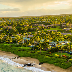 Maui Hawaii aerial drone panoramic photo with Mokapu Beach and Keawakapu Beach shoreline at sunrise in Wailea-Makena Hawaii. Panorama photo ratio is 1:3. Copyright ⓒ 2019 Paul Velgos with All Rights Reserved.