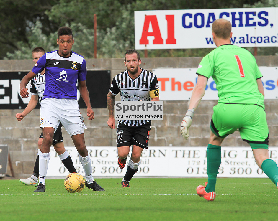 East Fife V Elgin Scottish League Two 22 August 2015;  East Fife's Nathan Austin bears down on the Elgin goal during the East Fife V Elgin City Scottish League Two match played at Bayview Stadium, Methill.