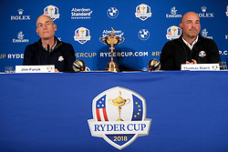 USA captain Jim Furyk (left) and European captain Thomas Bjorn (right) during a media event ahead of the 2018 Ryder Cup at The Hotel Pullman Paris Eiffel Tower, Paris.
