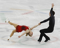 February 15, 2018 - Pyeongchang, KOREA - Julianne Seguin and Charlie Bilodeau of Canada compete in pairs free skating during the Pyeongchang 2018 Olympic Winter Games at Gangneung Ice Arena. (Credit Image: © David McIntyre via ZUMA Wire)