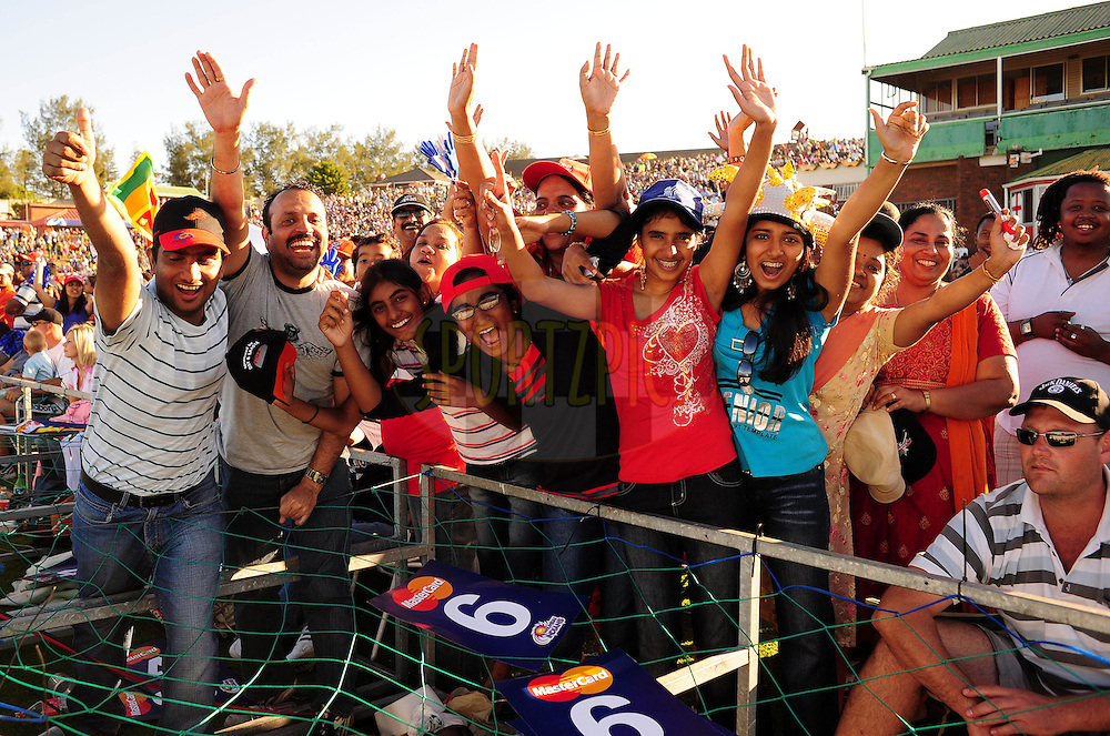 EAST LONDON, SOUTH AFRICA - 1 May 2009. Fans celebrate during the  IPL Season 2 match between the Mumbai Indians and the Kolkata Knight Riders held at Buffalo Park in East London. South Africa..